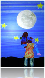 kid and father looking at the moon drawing
